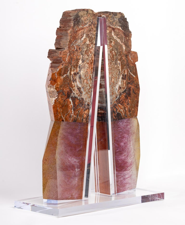 Mexican Arizona Petrified Wood and Boil Glass fusion Sculpture For Sale