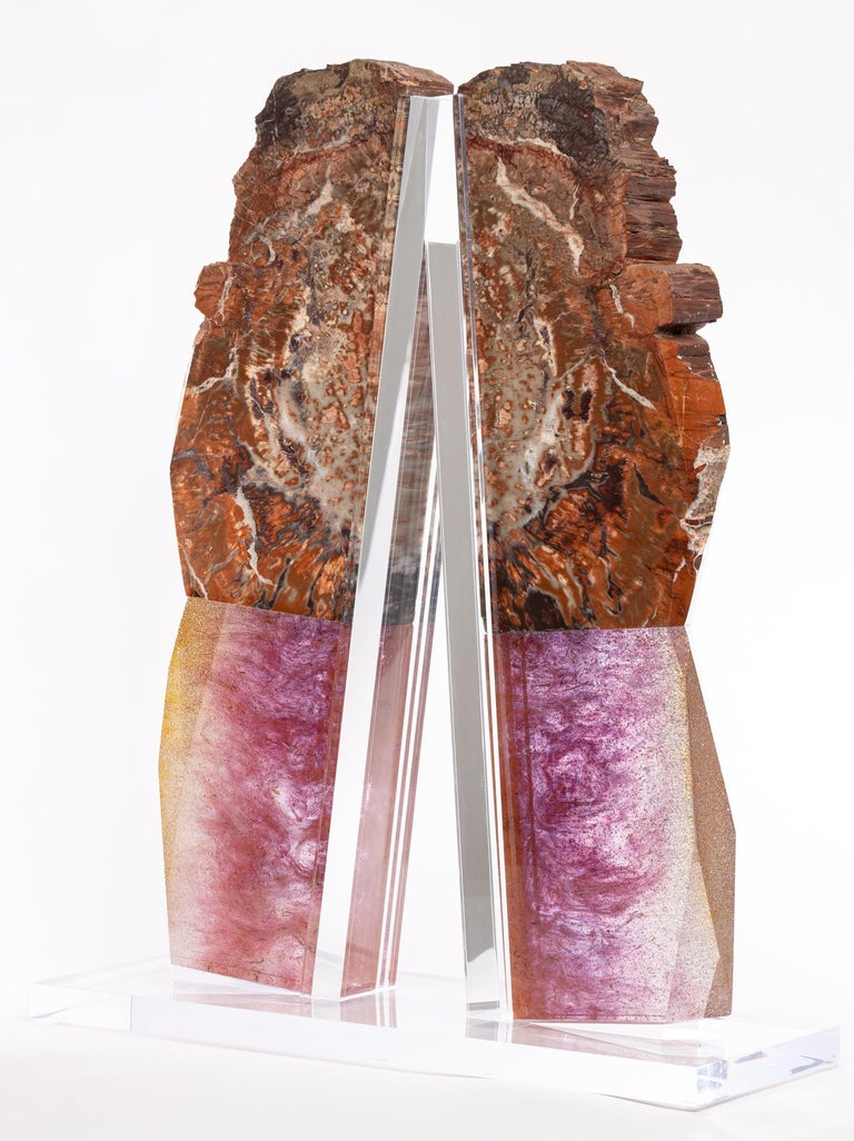 Contemporary Arizona Petrified Wood and Boil Glass fusion Sculpture For Sale