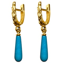 Arizona Turquoise Earrings 14k Yellow Gold Blue Gemstone December Birthstone Art