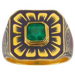 Arka Ring with Emerald and Jaipur Enamel Flower Motif, 22 Karat Yellow Gold