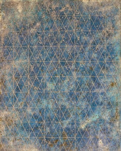 """""""Intersection/Cosmos Three"""", abstract geometric print, blues, silver, gold."""