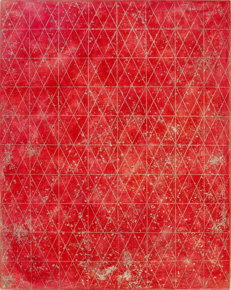 """""""Intersections/Cosmos 18"""" is a lyrical  monoprint made from a variety of etched and aquatinted copper plates, a reflection of the artist's awe at the immensity and boundlessness of the universe.  Printed in warm and cool reds and metallic silver and"""