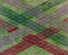 Intersections/Skies 12, abstract geometric monotype in green, silver, red.