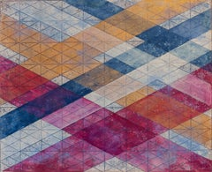 """Intersections/Skies 15"", abstract monoprint, blue, silver grid, violet, ochre."