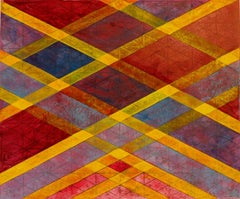 Intersections/Skies 19, abstract geometric monoprint, red, yellow, blue, gold.