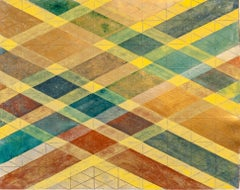 """""""Intersections/Skies 20"""", abstract geometric monoprint, red, yellow, blue, gold."""