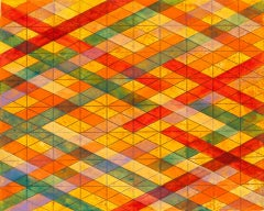 Intersections/Skies 21, abstract geometric monoprint, red, yellow, orange, blue.