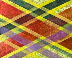 """""""Intersections/Skies 5"""", abstract geometric monoprint, green, yellow, red, gold."""