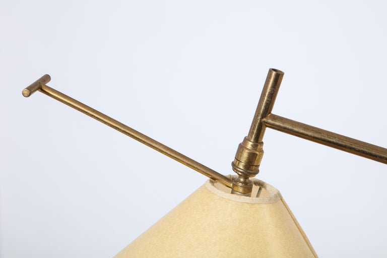 Mid-Century Modern French 1950s Arlus Floor Lamp with Red and Brass Base For Sale
