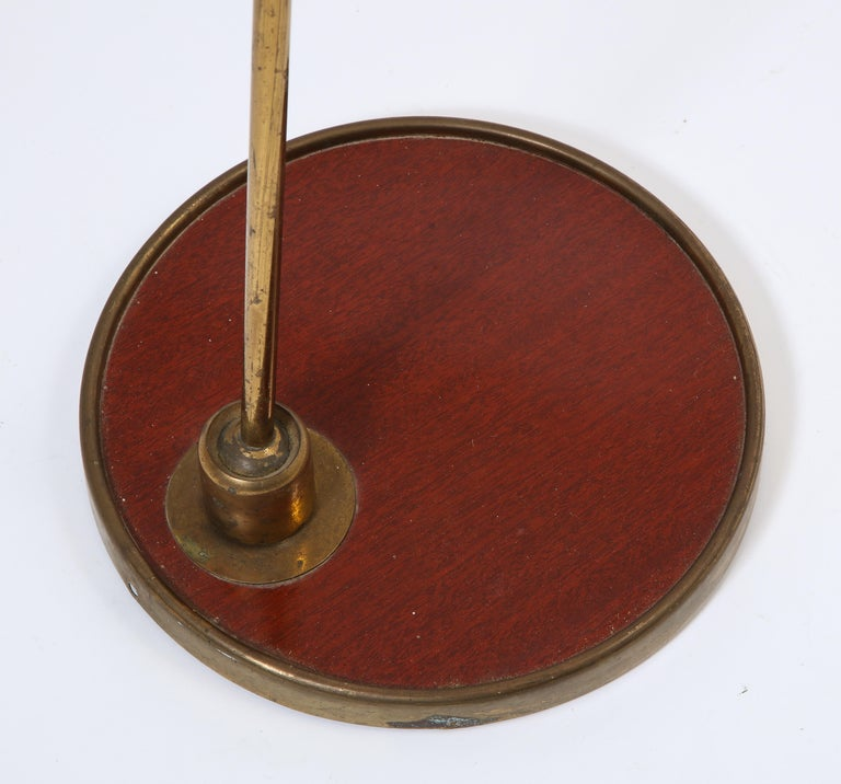 French 1950s Arlus Floor Lamp with Red and Brass Base For Sale 1