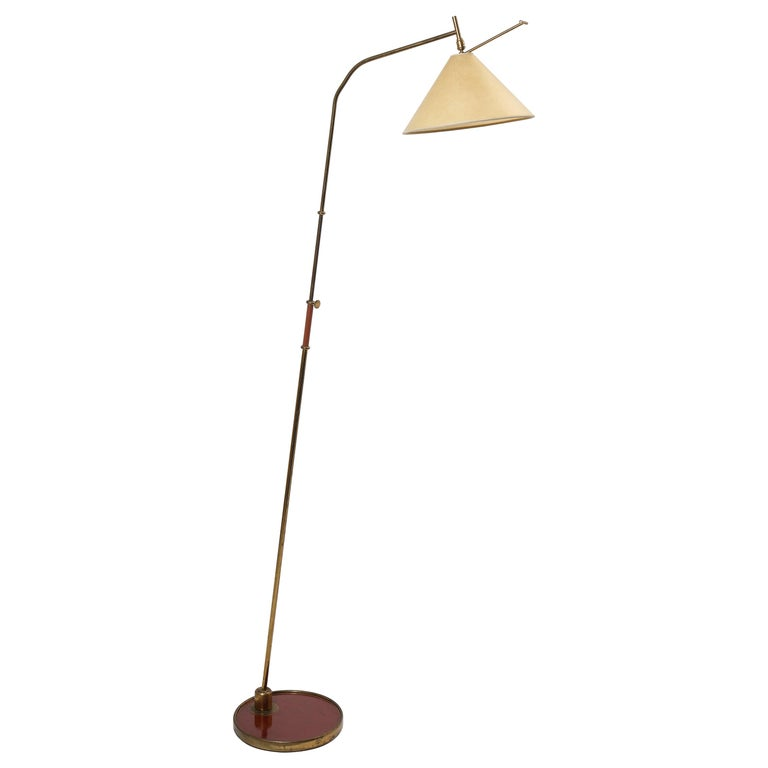 French 1950s Arlus Floor Lamp with Red and Brass Base For Sale