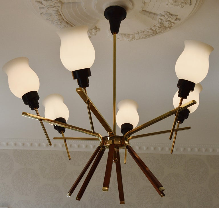 Mid-20th Century Arlus French Midcentury Chandelier, 1960s For Sale