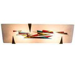 Arlus Hand-Painted Frosted Glass and Brass Lamp