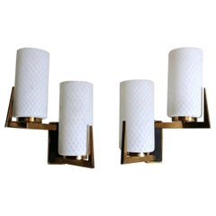 Arlus Maison Style Pair of French Sconces in Brass and Opaline, 1958