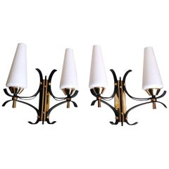 Arlus Maison Style Pair of French Wall Sconces in Brass and Opaline