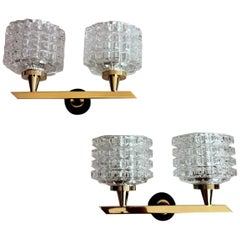 """Arlus Maison Style Pair of Sconces in Brass and """"Half Crystal"""""""