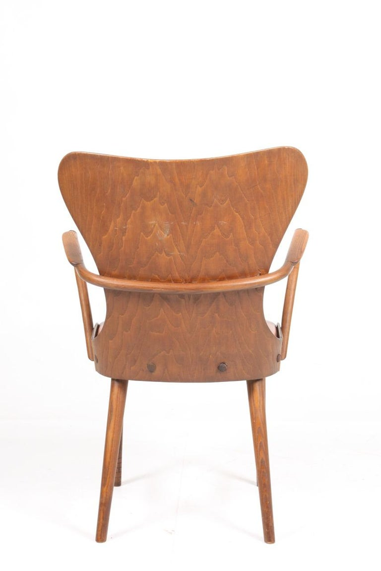 Armchair in Oak and Patinated Leather by Fritz Hansen, 1940s For Sale 1