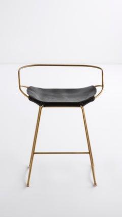 Kitchen Counter Stool w. Backrest Aged Brass Steel & Black Leather Modern Style