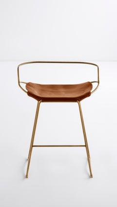 Kitchen Counter Stool with Backrest Aged Brass Steel & Natural Tobacco Leather