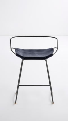 Kitchen Counter Stool with Backrest Black Smoke Steel & Navy Leather