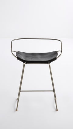 Kitchen Counter Stool wt. Backrest Silver Steel & Black Leather Contemporary