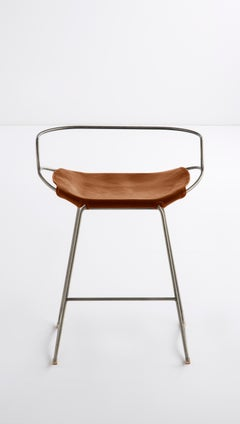 Kitchen Counter Stool with Backrest Silver Steel & Tobacco Leather, Modern Style