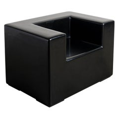 Arm Rest Chair, Black Lacquer by Robert Kuo, Handmade, Limited Edition