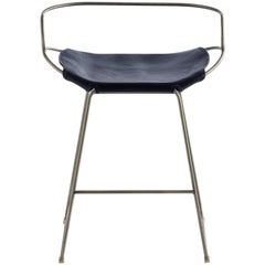 Kitchen Counter Stool with Backrest Steel & Navy Leather Contemporary Modern