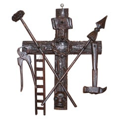 Arma Christi 18th Century Black Forest Carved Wood Instruments of Passion Cross