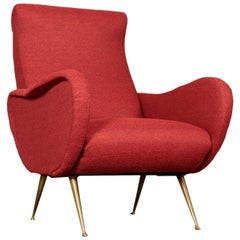 Armchair, Foam Brass and Fabric, Italy, 1950s-1960s