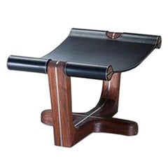 Armada Foot Rest, Relaxing Contemporary Rest in Walnut and High Quality Leather