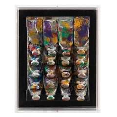 Arman 20 Paint Tubes Smeared and Pressed on Canvas in Plexiglas Box