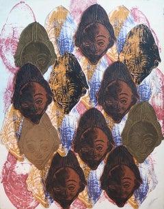 Accumulation of African Masks - Original Handsigned Collage