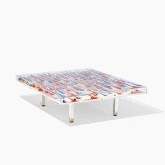 Arman Togo Table Coffee Table in Plexiglas, Steel & Varnish Bottles, Glass Top