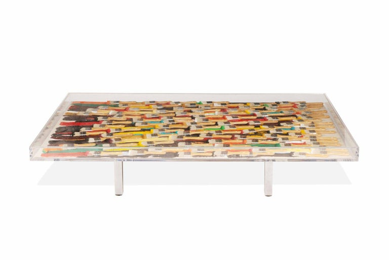French Arman, Paint Brushes Original Table, Signed and Numbered For Sale