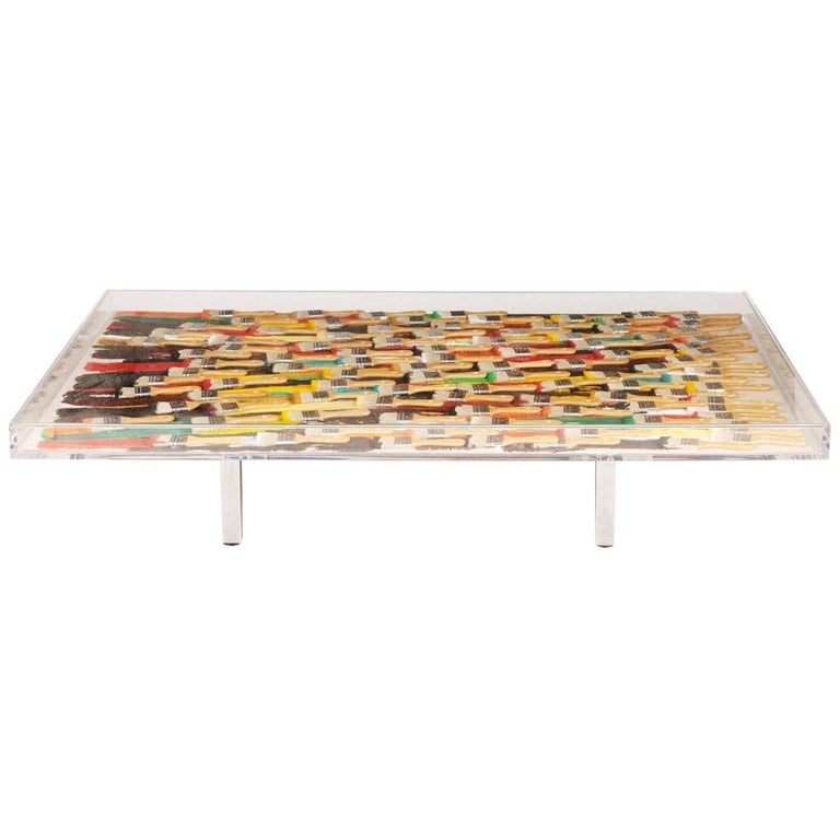Arman, Paint Brushes Original Table, Signed and Numbered For Sale