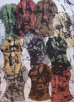 Accumulation of African Songue Masks - Original Handsigned Lithograph