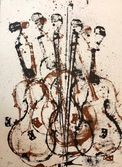 Violent Violin Concerto Hand Signed Lithograph Silkscreen