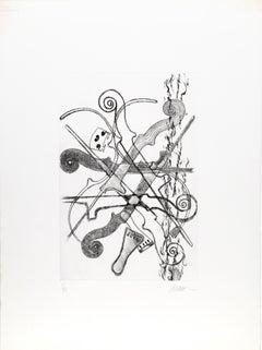 Violin Scrolls, Etching by Arman