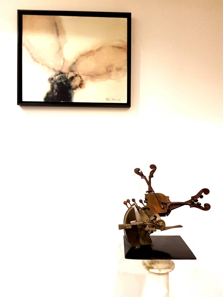 Arman Original Bronze Violin Sculpture Edition: HC 1/2 Signed and Numbered Bronze Dimensions: 36 x 50 x 24 cm  Arman is a painter who moved from using objects for the ink or paint traces they leave to using them as the painting itself. He is best