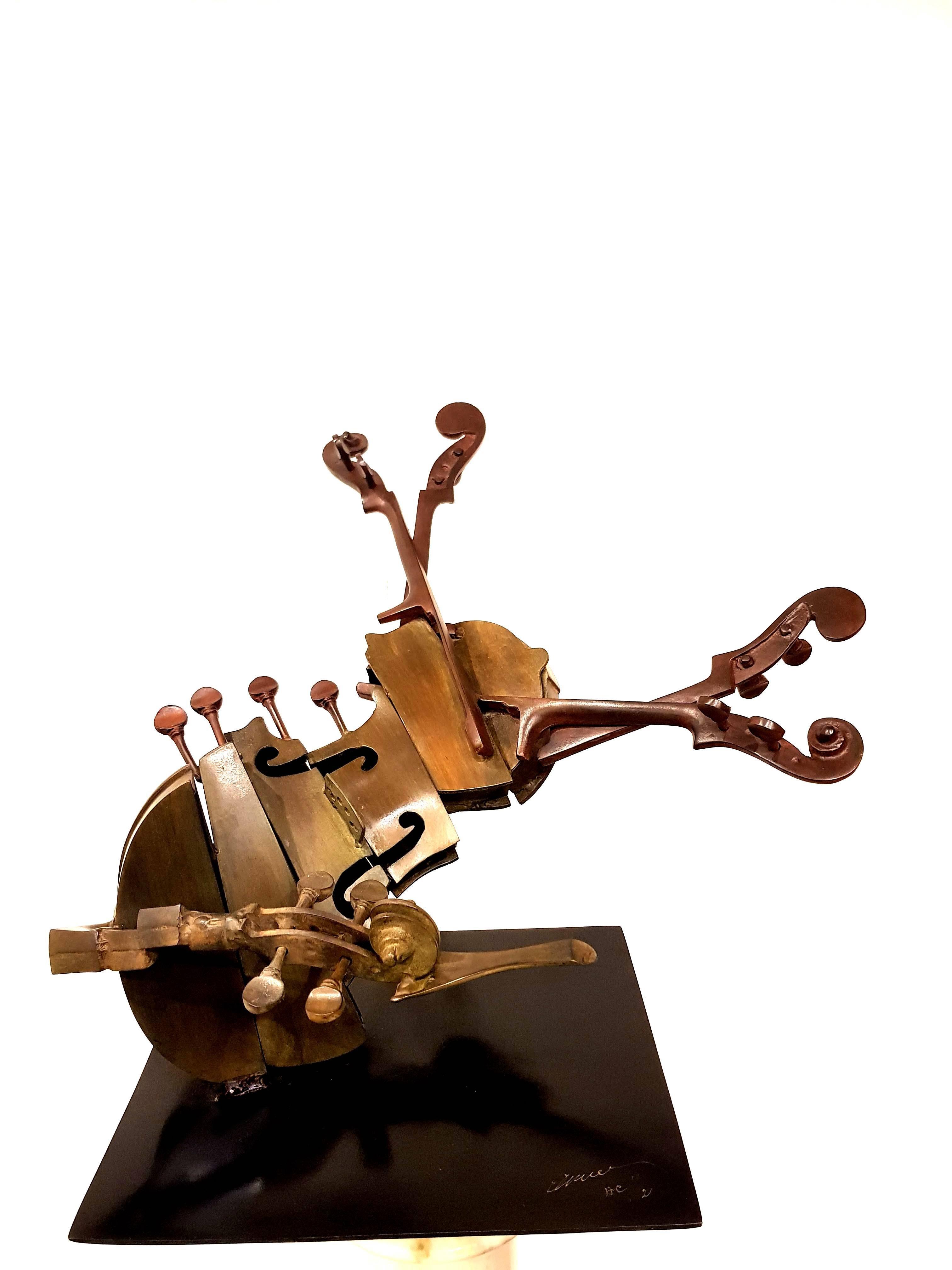 Arman - Rare Signed Violin Bronze Sculpture