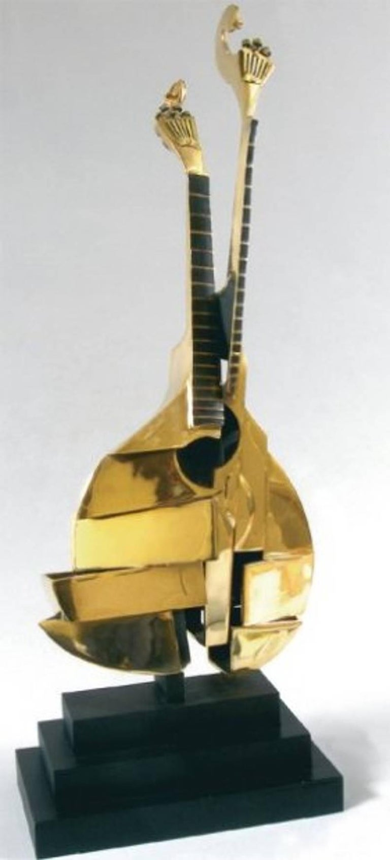 Original Signed and Numbered Bronze Violin Sculpture by Arman Title: Portuguese Guitar Signed and Numbered Edition: 99 Bronze Sculpture on Black base Dimensions: 85 x 35 x 28 cm  Arman is a painter who moved from using objects for the ink or paint