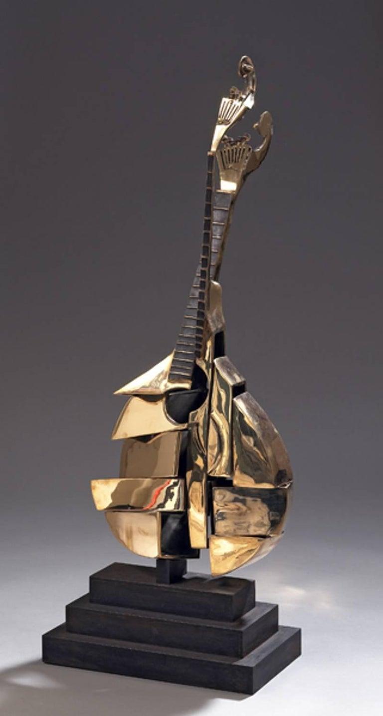 Arman - Bronze Sculpture - Portuguese Guitar - Gold Figurative Sculpture by Arman