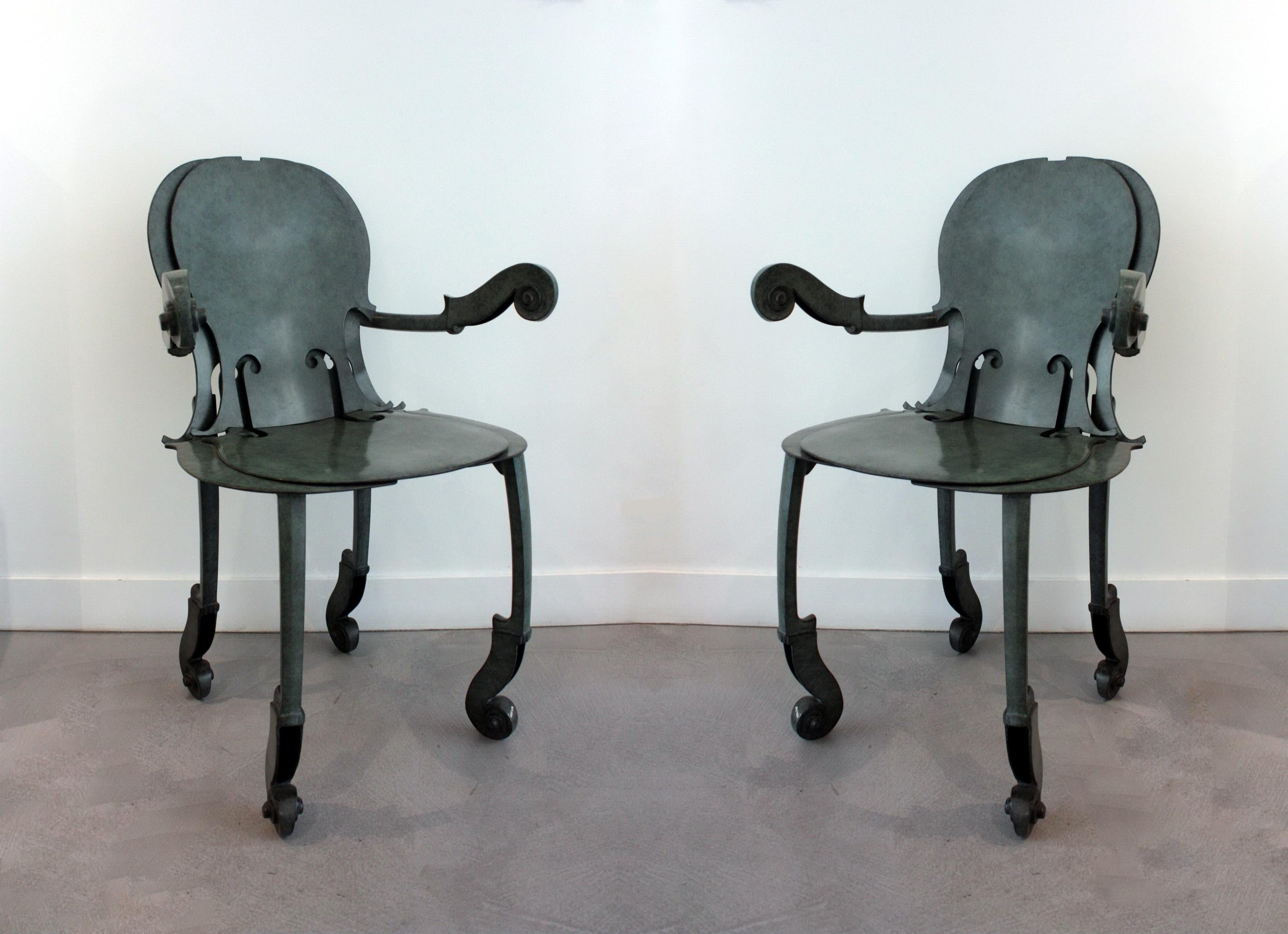 Arman Pair of Cello Armchairs in Bronze Antique Green Patina 1993