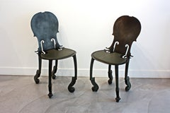 Arman Pair of Cello Chairs in Bronze Antique Green Patina and Green Leather Seat