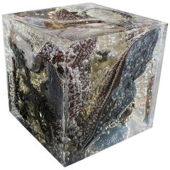 Unique Resin Modern Cube Sculpture with Bronze