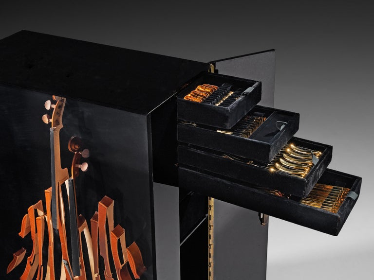 Mid-Century Modern Arman 'Violon' Cutlery Service with 116 Pieces in Artistic Cabinet For Sale