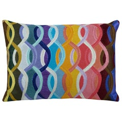 Armand Accent Pillow in Wave Pattern with Feather Insert by CuratedKravet