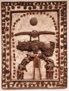 'Trinité à l'oiseau'. Large Mid-Century Mixed Media Montage