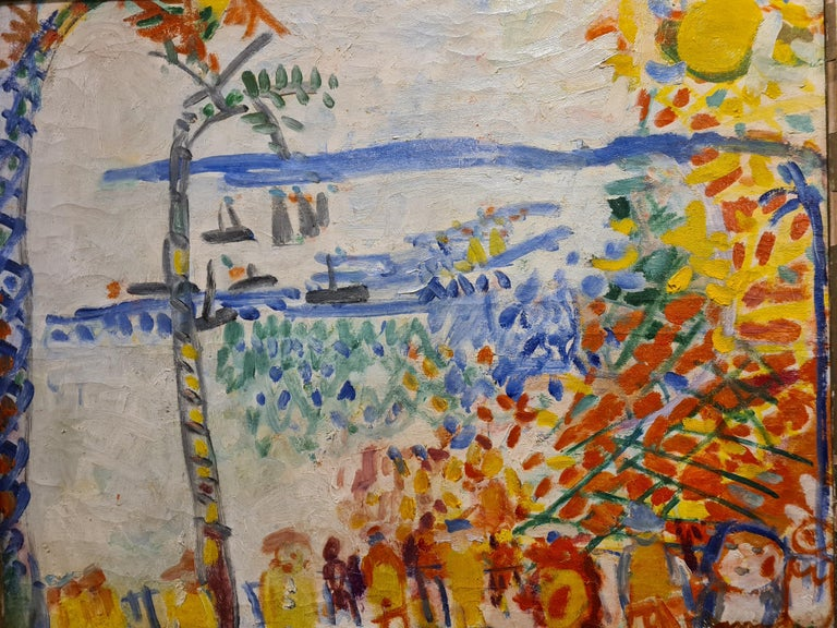 Baie des Anges, Nice, large Mid Century oil on canvas in the style of Raoul Dufy - Painting by Armand Avril
